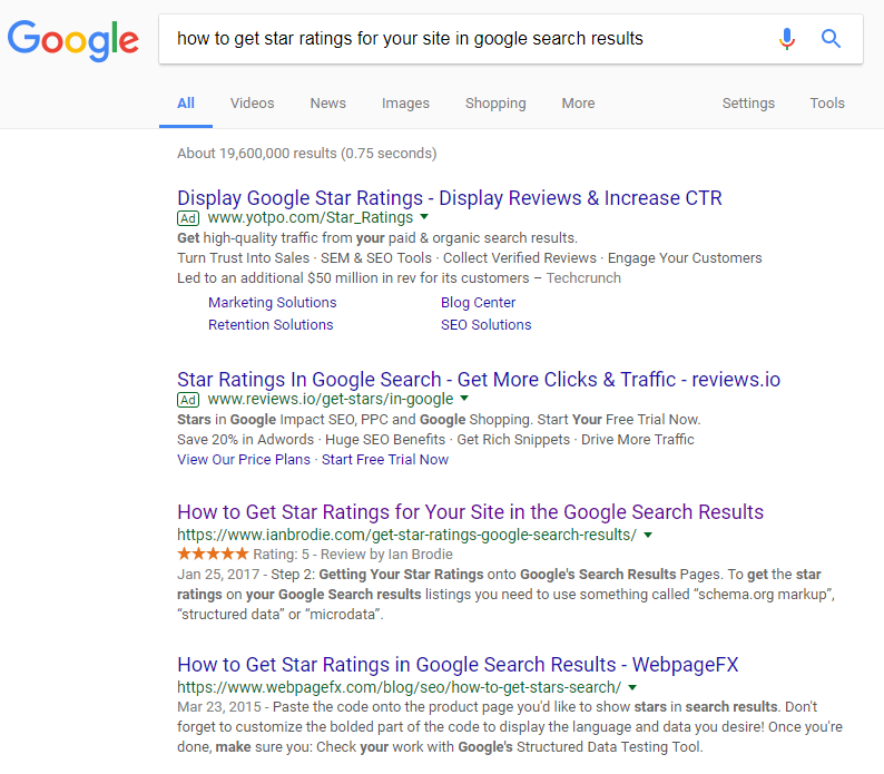 seo ranking tip review stars