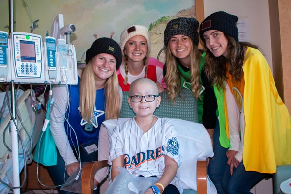 Rady Children's Hospital San Diego. Girl with Padres jersey