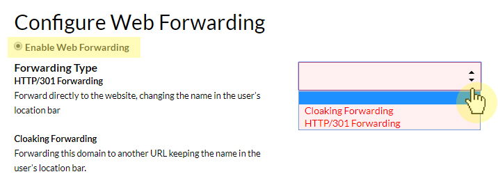 select your web forwarding method