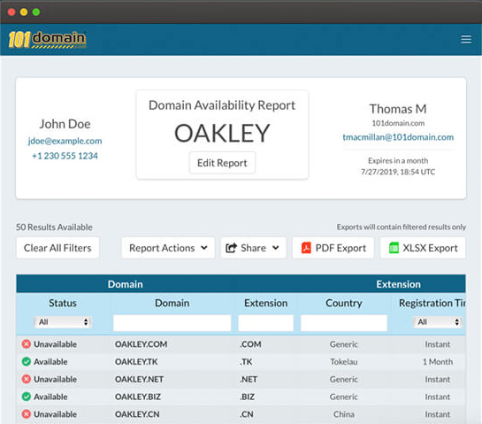 domain portfolio management availability report