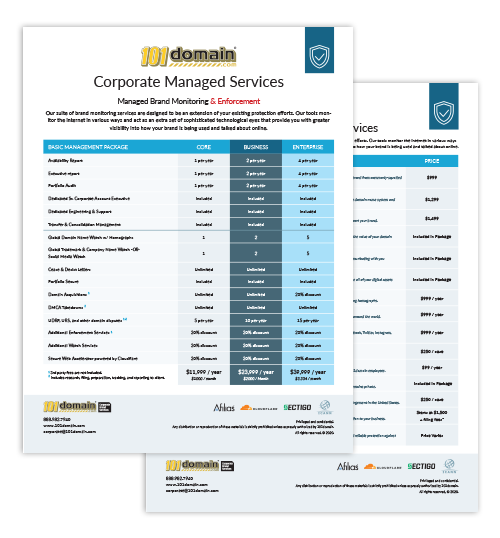 UDRP Disputes and Managed Services Price Sheet