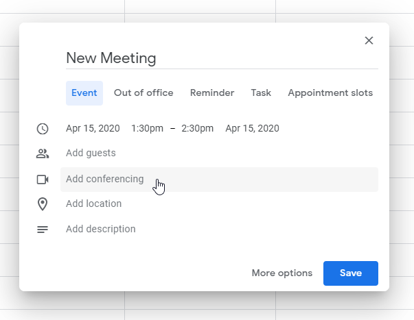 Google Hangouts New Meeting