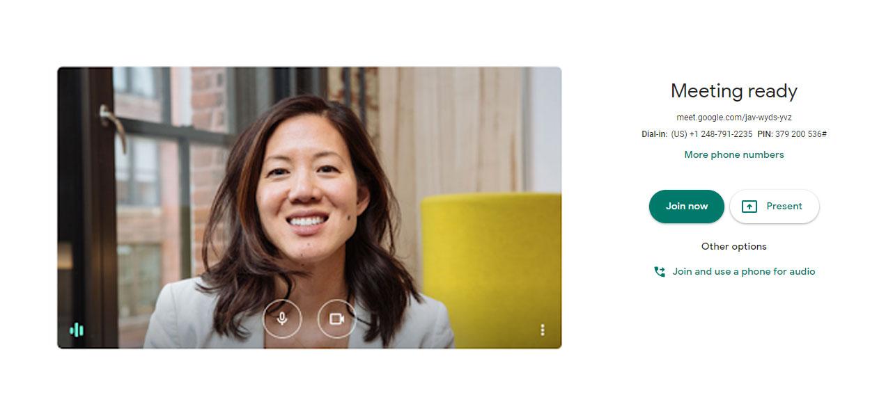 Google Meet Meeting Ready Screen