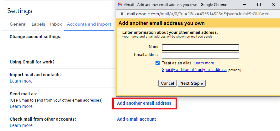 send emails from a different email address or alias
