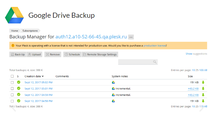Google Drive backup your website