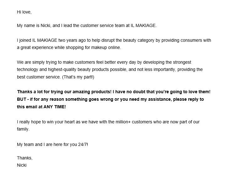 Personal Touch thank you email